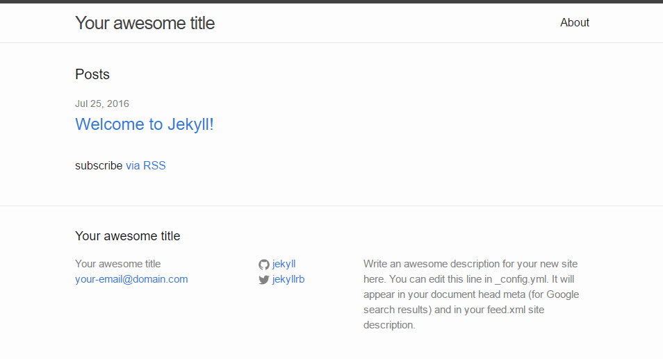 Jekyll site opened in a browser